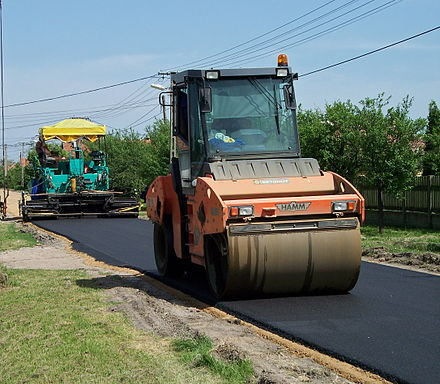 Asphalt layer and Hamm road roller Road building-Hungary-1.jpg