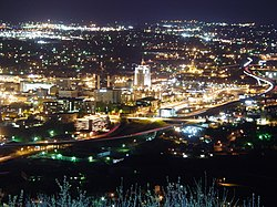 Downtown Roanoke, Virginia as seen at night from the Mill Mountain Star.