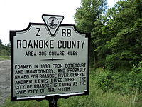 Roanoke County Virginia state historical marker