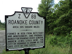 Roanoke County, Virginia - State historical marker for Roanoke County, Virginia