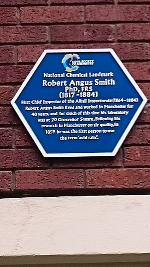 Robert Angus Smith - A Royal Society of Chemistry Blue plaque commemorating Smith in Grosvenor Square Manchester, the site of Smith's laboratory