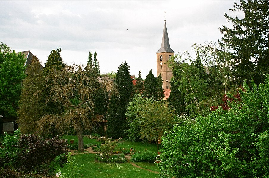 Rodemack, view from the city wall to the town church
