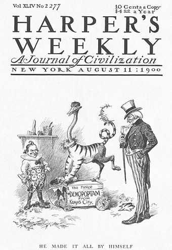 Conservatives in 1900 ridiculed Bryan's eclectic platform. Rogers cartoon about William Jennings Bryan reconstructing the Democratic Party platform.jpg