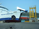 Roll-on roll-off ship KMP Mentari Nusantara truck.JPG