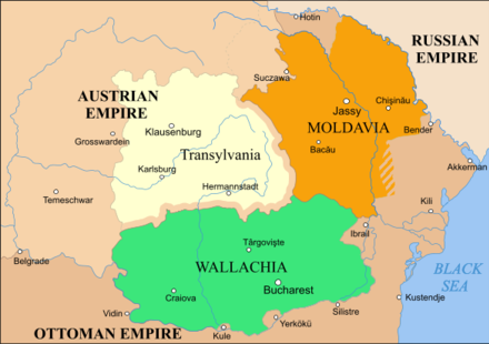 Most of Bessarabia was for centuries part of the principality of Moldavia (1800 map). Rom1793-1812.png