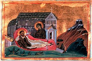 Romanos the Melodist - Romanos and Virgin Mary, Miniature from the Menologion of Basil II