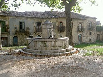 Roscigno - An old palace and the fountain of Roscigno Vecchia.