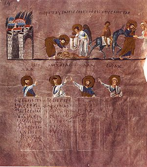Parable of the Good Samaritan - In this folio from the 6th-century Rossano Gospels, the cross-bearing halo around the Good Samaritan's head indicates an allegorical interpretation. The first scene includes an angel.