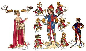 College of Arms - Depiction of King Richard III the College of Arms' founder, his wife Queen Anne Neville and their son Prince Edward, Prince of Wales with their heraldic crests and badges from the Rous Roll. A roll of arms painted by John Rous around 1483–1485 for the Earl of Warwick.