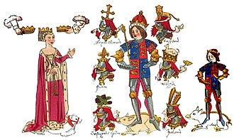 Richard III of England - Contemporary illumination (Rous Roll, 1483) of Richard III, his queen Anne Neville, whom he married in 1472, and their son Edward the Prince of Wales. British Library, London.