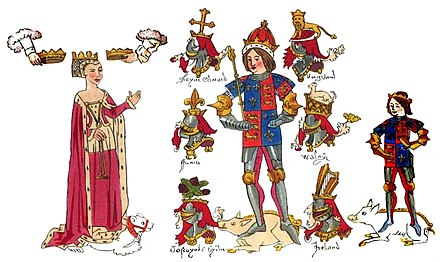 Contemporary illumination (Rous Roll, 1483) of Richard III, his queen Anne Neville, whom he married in 1472, and their son Edward the Prince of Wales Rous Roll - Richard and family.jpg