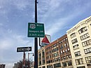 Sign for US 20 at Kenmore Square, near the Boston Citgo sign