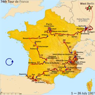 1987 Tour de France - Route of the 1987 Tour de France