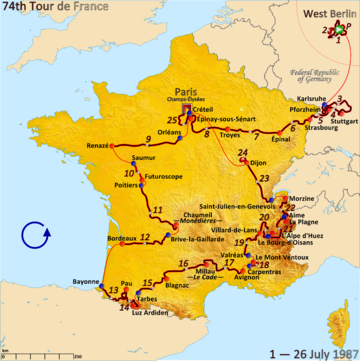 Route of the 1987 Tour de France