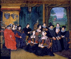 Rowland Lockey - Sir Thomas More and Descendants, miniature, vellum stuck to card, c. 1594