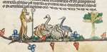 Royal MS 10 E IV fol 49v Reynard the Fox preaching to geese.png