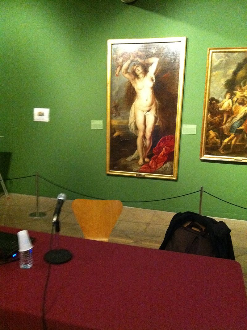 Rubens painting in front of the speaker table at a Wikipedia workshop.JPG