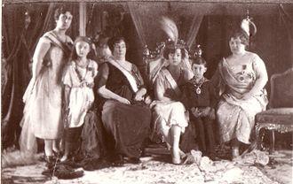 Nazikeda Kadın (wife of Mehmed VI) - Nazikeda (third from left) at her daughter Sabiha's (third from right) wedding, 29 April 1920