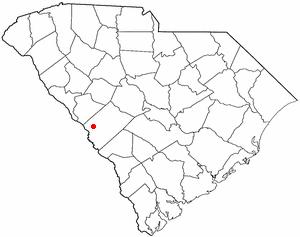 Burnettown, South Carolina - Image: SC Map doton Burnettown