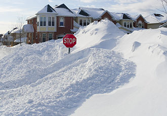 North American blizzard of 2008 - The accumulation of snow in Ottawa, Ontario dwarfs a stop sign on March 9