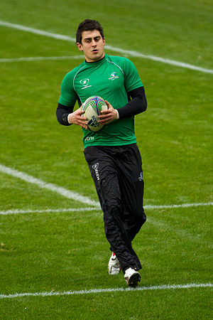 Tiernan O'Halloran - O'Halloran warming up before a 2011–12 Heineken Cup game against Toulouse.