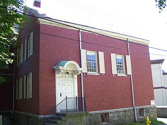 Newport Historical Society - Sabbatarian Meeting House, built in 1729 by Richard Munday (rear Newport Historical Society building today), now encased in brick