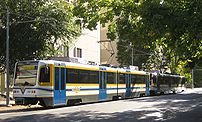 A CAF trainset in downtown Sacramento