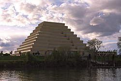 The Ziggurat Building on the Sacramento River in West Sacramento.
