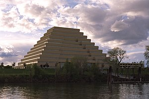 West Sacramento, California - The Ziggurat Building on the Sacramento River in West Sacramento.