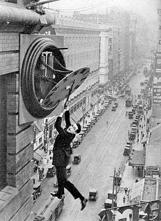 Cinema of the United States - Harold Lloyd in the famous clock scene from Safety Last! (1923)