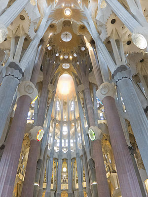 English: Sagrada Familia interior view, lookin...