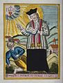 Saint Valentine blessing an epileptic. Coloured etching. Wellcome V0016605.jpg