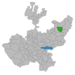 Location of San Juan de los Lagos in Jalisco