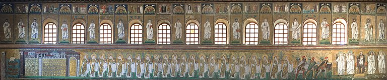 Panorama of the North nave wall mosaics at Sant Apollinare Nuovo