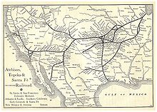 "The United States Santa Fe Railway Route Map from the 1891 ""Grain Dealers and Shippers Gazetteer""."