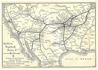 "Atchison, Topeka and Santa Fe Railway - A map of ""The Santa Fé Route"" and subsidiary lines, as published in an 1891 issue of the Grain Dealers and Shippers Gazetteer"