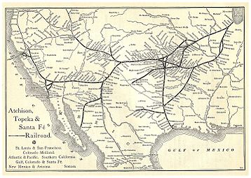 An Atchison, Topeka & Santa Fe Railway route map from 1891 issue of Grain Dealers and Shippers Gazetteer.