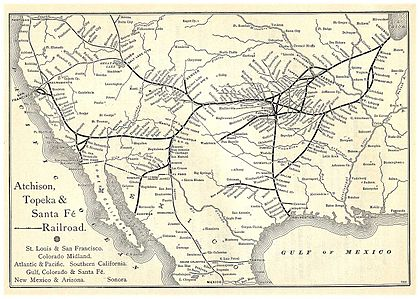 "A map of ""The Santa Fé Route"" and subsidiary lines as published in an 1891 issue of the Grain Dealers and Shippers Gazetteer."