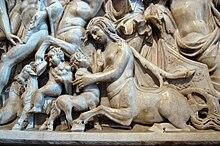 Femmina di centauro e figlioletto, particolare del sarcofago di Arianna, III sec.d.C. Museo del Louvre
