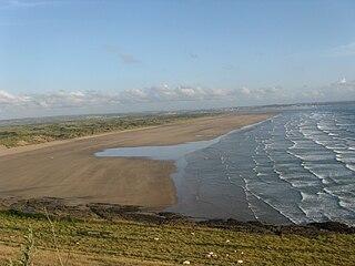 Saunton Sands beach in the English village of Saunton on the North Devon coast