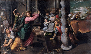Cleansing of the Temple - Driving of the Merchants From the Temple by Scarsellino