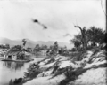 Scene alongside the Ohinemuri River, near Paeroa, with a goldmining dredge ATLIB 252511.png