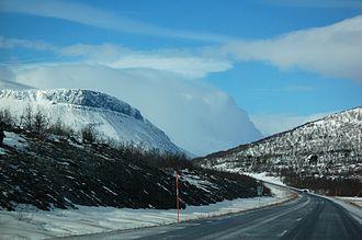European route E10 - Scenery near Abisko village in Kiruna Municipality, Sweden.