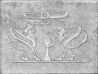 Scorpion man - Drawing of an Assyrian intaglio depicting scorpion men.