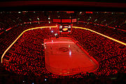 The interior of the Scotiabank Place. Picture inset taken during a playoff against the Buffalo Sabres.