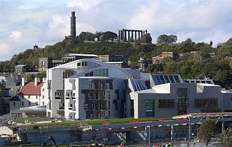 Scottish Parliament Building - Roof line of the Parliament intended to evoke the crags of the Scottish landscape and, in places, upturned fishing boats. Solar panels can also be seen, part of the building's sustainability strategy.