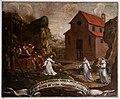 Scuola toscana, storie di san leonardo, miracolo del pozzo secco, 1650-1700 ca.jpg