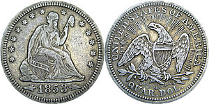 Coinage Act of 1853 - 1853 Seated Liberty silver quarter, with its distinct arrows and rays.