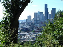Downtown Seattle from a wooded hill