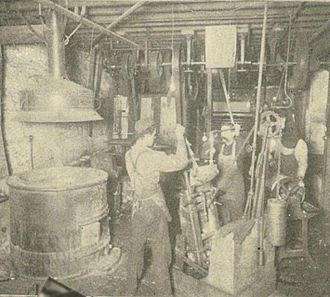 Stereotype (printing) - Stereotype casting room of the Seattle Daily Times, ca. 1900